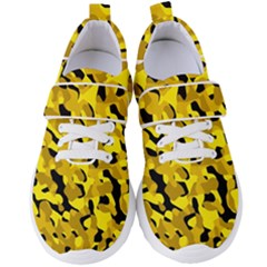 Black And Yellow Camouflage Pattern Women s Velcro Strap Shoes