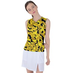 Black And Yellow Camouflage Pattern Women s Sleeveless Sports Top by SpinnyChairDesigns