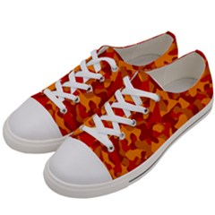 Red And Orange Camouflage Pattern Women s Low Top Canvas Sneakers by SpinnyChairDesigns
