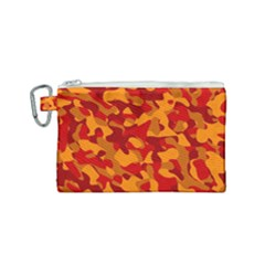 Red And Orange Camouflage Pattern Canvas Cosmetic Bag (small) by SpinnyChairDesigns