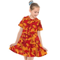 Red And Orange Camouflage Pattern Kids  Short Sleeve Shirt Dress