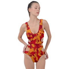 Red And Orange Camouflage Pattern Side Cut Out Swimsuit by SpinnyChairDesigns
