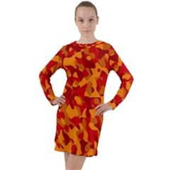 Red And Orange Camouflage Pattern Long Sleeve Hoodie Dress by SpinnyChairDesigns