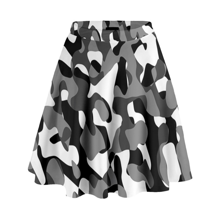 Black and White Camouflage Pattern High Waist Skirt