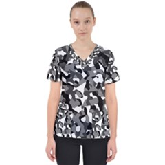 Black And White Camouflage Pattern Women s V-neck Scrub Top
