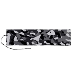 Black And White Camouflage Pattern Roll Up Canvas Pencil Holder (l)