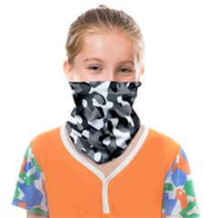 Black And White Camouflage Pattern Face Covering Bandana (kids) by SpinnyChairDesigns