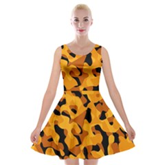 Orange And Black Camouflage Pattern Velvet Skater Dress