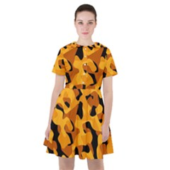 Orange And Black Camouflage Pattern Sailor Dress