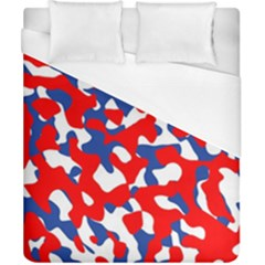 Red White Blue Camouflage Pattern Duvet Cover (california King Size) by SpinnyChairDesigns
