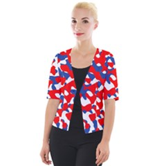 Red White Blue Camouflage Pattern Cropped Button Cardigan by SpinnyChairDesigns