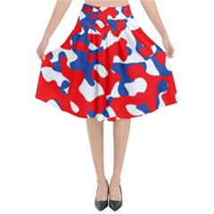 Red White Blue Camouflage Pattern Flared Midi Skirt