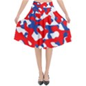 Red White Blue Camouflage Pattern Flared Midi Skirt View1