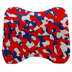 Red White Blue Camouflage Pattern Velour Head Support Cushion