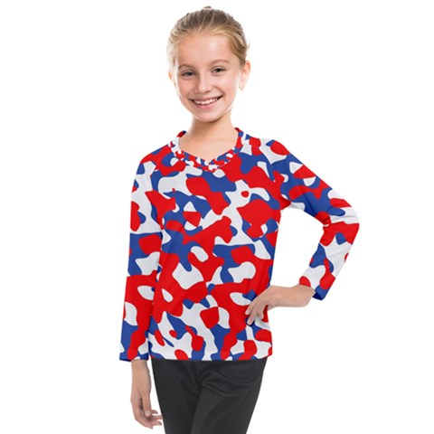 Red White Blue Camouflage Pattern Kids  Long Mesh Tee by SpinnyChairDesigns