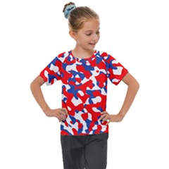 Red White Blue Camouflage Pattern Kids  Mesh Piece Tee