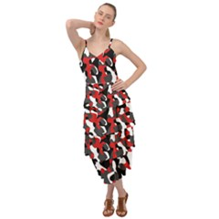 Black Red White Camouflage Pattern Layered Bottom Dress