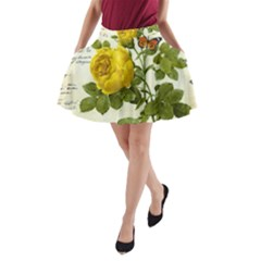 Yellow Roses A-line Pocket Skirt