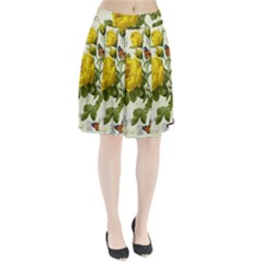 Yellow Roses Pleated Skirt