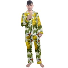 Yellow Roses Men s Long Sleeve Satin Pyjamas Set