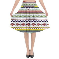 Bright Tribal Flared Midi Skirt