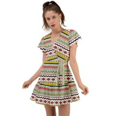 Bright Tribal Flutter Sleeve Wrap Dress