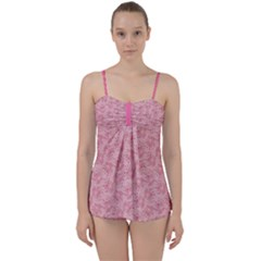 Cat With Violin Pattern Babydoll Tankini Set