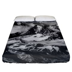 Black And White Andes Mountains Aerial View, Chile Fitted Sheet (california King Size)