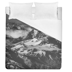 Black And White Andes Mountains Aerial View, Chile Duvet Cover (queen Size)