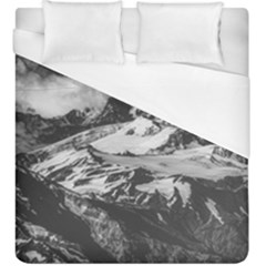 Black And White Andes Mountains Aerial View, Chile Duvet Cover (king Size)