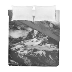 Black And White Andes Mountains Aerial View, Chile Duvet Cover Double Side (full/ Double Size)