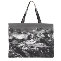 Black And White Andes Mountains Aerial View, Chile Zipper Large Tote Bag