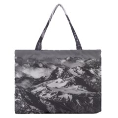 Black And White Andes Mountains Aerial View, Chile Zipper Medium Tote Bag