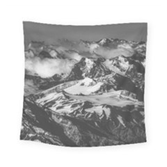 Black And White Andes Mountains Aerial View, Chile Square Tapestry (small)