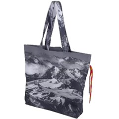 Black And White Andes Mountains Aerial View, Chile Drawstring Tote Bag