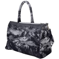Black And White Andes Mountains Aerial View, Chile Duffel Travel Bag