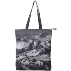 Black And White Andes Mountains Aerial View, Chile Double Zip Up Tote Bag