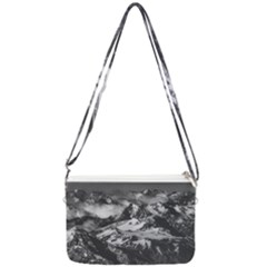 Black And White Andes Mountains Aerial View, Chile Double Gusset Crossbody Bag