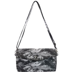 Black And White Andes Mountains Aerial View, Chile Removable Strap Clutch Bag
