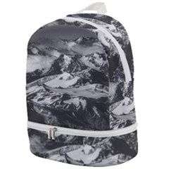 Black And White Andes Mountains Aerial View, Chile Zip Bottom Backpack