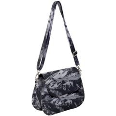 Black And White Andes Mountains Aerial View, Chile Saddle Handbag