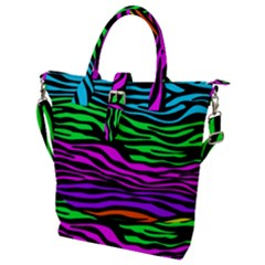 Colorful Zebra Buckle Top Tote Bag