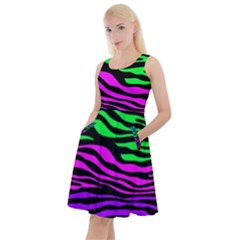 Colorful Zebra Knee Length Skater Dress With Pockets