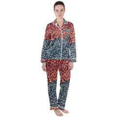 Gravel Print Pattern Texture Satin Long Sleeve Pyjamas Set by dflcprintsclothing
