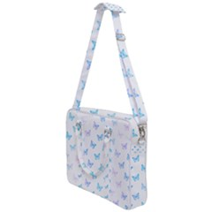 Light Blue Pink Butterflies Pattern Cross Body Office Bag by SpinnyChairDesigns