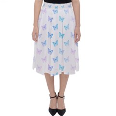 Light Blue Pink Butterflies Pattern Classic Midi Skirt by SpinnyChairDesigns