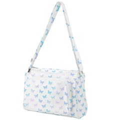 Light Blue Pink Butterflies Pattern Front Pocket Crossbody Bag by SpinnyChairDesigns