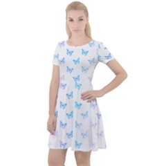 Light Blue Pink Butterflies Pattern Cap Sleeve Velour Dress