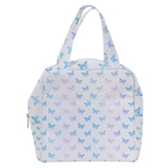 Light Blue Pink Butterflies Pattern Boxy Hand Bag by SpinnyChairDesigns