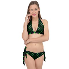 Neon Green Bug Insect Heads On Black Tie It Up Bikini Set